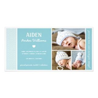 CALM WAVES  BABY BOY BIRTH ANNOUNCEMENT PERSONALIZED PHOTO CARD
