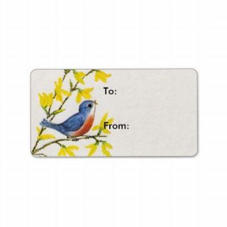 Cute Singing Blue Bird Tree Personalized Address Label
