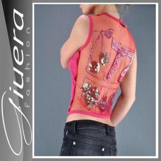 VERSACE *Pailetten Glamour Top* Damen T shirt womens Tee Donna Mujer