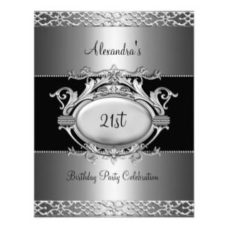 Birthday Party Silver Black Personalized Announcement