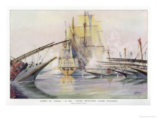 The French Warship Le Bon in Action Against 32 Spanish Galleys Giclee Print by Albert Sebille