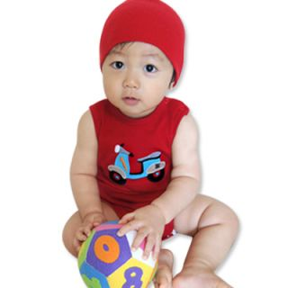 Sleeveless Red Baby Boy Girl Infant Cotton Clothing / WBA 159