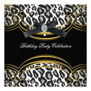 Wild Animal Black White Gold Birthday Party Personalized Invite