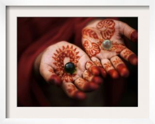 Pakistani Girl Displays Her Hands Painted with Henna Paste Framed Photographic Print