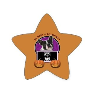 Halloween   Just a Lil Spooky   Boston Terrier Star Sticker