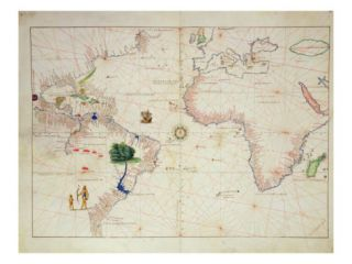 The New World, from an Atlas of the World in 33 Maps, Venice, 1st September 1553 Giclee Print by Battista Agnese