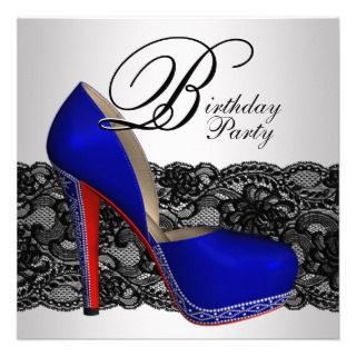 Black and Blue High Heel Shoe Birthday Party Invite