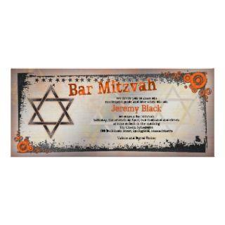 Grunge Orange, Black, Grey Bar Mitzvah Invitation invitation