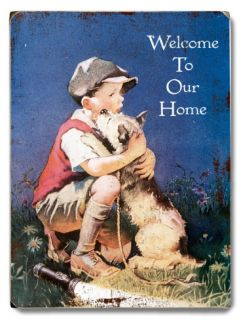 Boy & Dog   Welcome Wood Sign