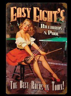 Easy Eights Pool Billard Pin Up WERBEREKLAME Schild BLECHSCHILD