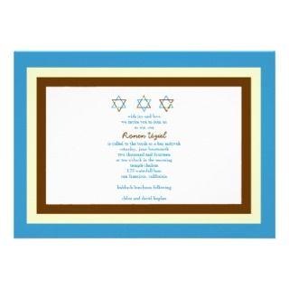 Bar Mitzvah Invitation Ronen Brown Blue invitations by eMitz_com