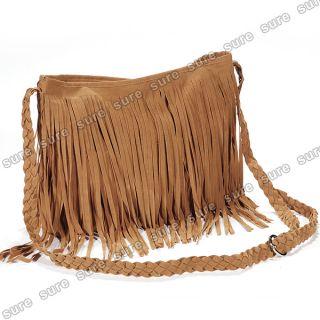 Damen Schultertasche Shoulder Bag 70er retro Old School mit Fransen