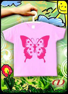 Kinder T Shirt 92 164 Neon Pink Butterfly Schmetterling Fun Sun Ostsee