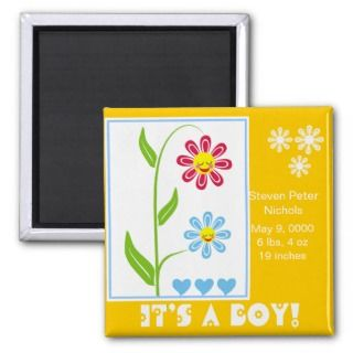 Happy Flowers Baby Birth Announcements Magnets