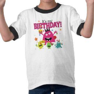Kids Cute Monster Birthday T shirts