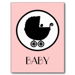 Baby Carriage Silhouette Announcement Postcard