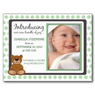 Teddy Bear Polkadot Baby Birth Announcement (mint) Postcard