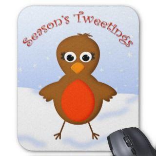 Cute Robin Redbreast Christmas Cartoon Mousepad
