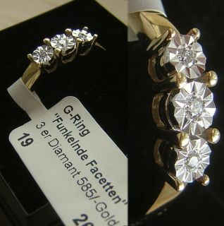 169 Euro NEU Goldring mit 3 funkelnden Diamanten Gold 585 Ring Diamant