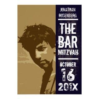 Rock Band Bar Mitzvah Invitation, Sepia