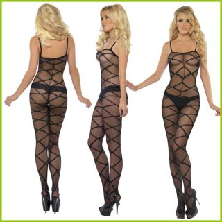 SEXY BLACK BODY STOCKING LINGERIE – LACE UP SHEER PATTERNED NET