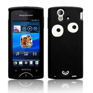 Eyes Lasred Silicone Case For Sony Ericsson Xperia Ray / Black & Film