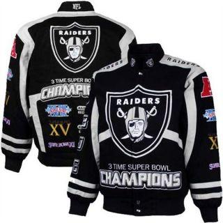 Oakland Raiders Black Silver 3 TimeSuper Bowl Commemorative Jacket by