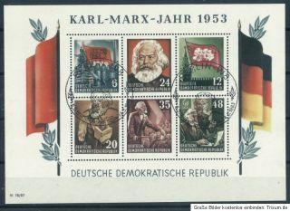 DDR 1953   BLOCK KARL MARX JAHR MI NR 8A GEZÄHNT   GESTEMPELT   SIEHE