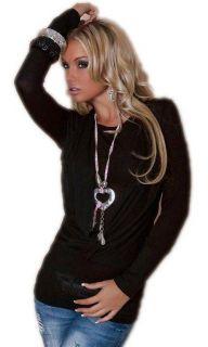 Strick Pullover Pulli Neckholder Sweater Cardigan Long Shirt schwarz S
