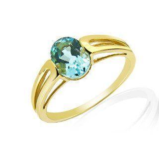 Damen Ring 9 Karat (375) Gelbgold Blau Topas Gr. 57 (18.1) 123R0423 01