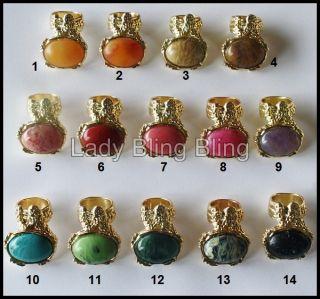 XXL Blogger Cocktail Chunky Ring Vintage Boho Gold Marmor 14 Farben 15