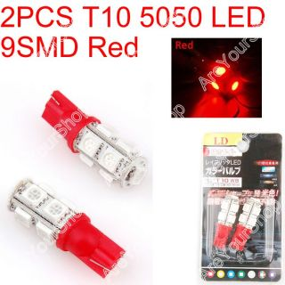 Car LED T10 194 W5W 5050 Wedge Light Bulb Lamp 9SMD Red