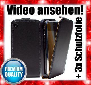 Apple Iphone 3 / 3G / 3GS Leder Tasche Etui Flip Case Schutz Hülle