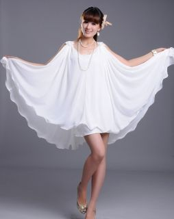 J184 WOMEN CHIFFON OFF WHITE BIG CIRCLE WEDDING DRESS