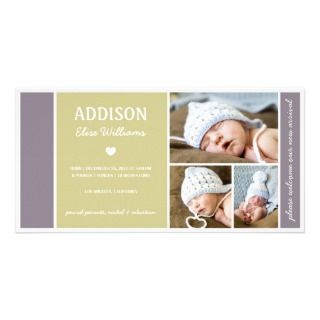 COLOR BLOCK  BABY BIRTH ANNOUNCEMENT CUSTOMIZED PHOTO CARD