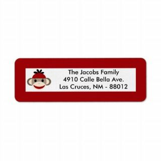 75x2.25 Reurn Address Label Red Sock Monkey labels by