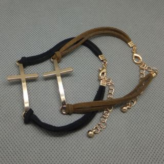 Fashion Punk Goth Cross Simple charm Black Brown Leather Bracelet