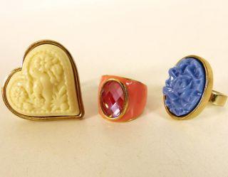 DESIGNER RING 3er SET gold Gr. 50 / 54 / 55   KAMEE OPTIK