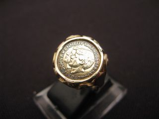 Goldring 585 Münzring Ring Gold Münze Kennedy Zierring ANTIK EDEL