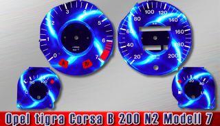Opel tigra Corsa B 200 N2 tuning Sporting Tachoscheiben Tacho Speedo