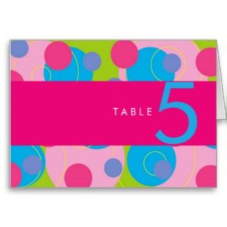 Retro Candy Pink Dots Wedding / Party Table Card