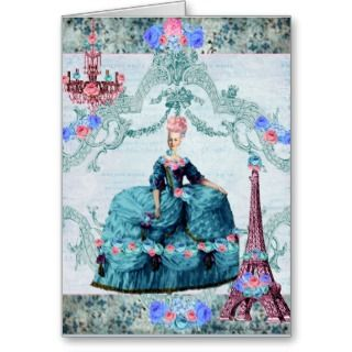 Bella Blue Marie Antoinette and Eiffel Tower Greeting Card