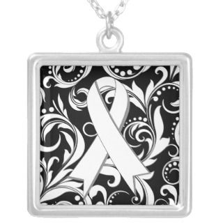 Lung Cancer Ribbon Deco Floral Noir Pendants