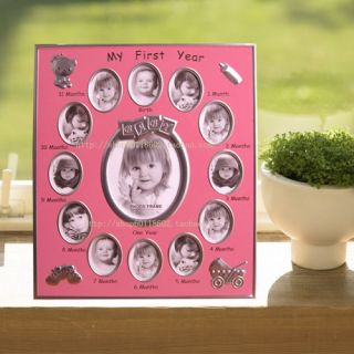 Baby picture Photo frame month by month   1 year pink
