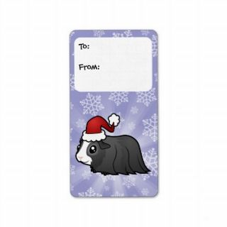 Christmas Guinea Pig Gift Tags (long hair) Custom Address Labels