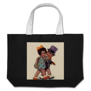 cute black americana couple canvas bags
