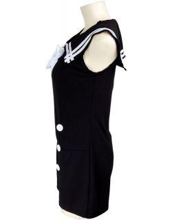 Double Button Sailor Nautical Rockabilly Pin Up Jumpsuit Playsuit