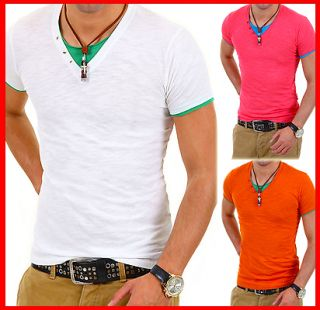 Deep V Neck T Shirt 2in1 Optik Party Hemd Weiß/Blau/Pink