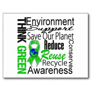 Think Green Environment Collage Post Cards