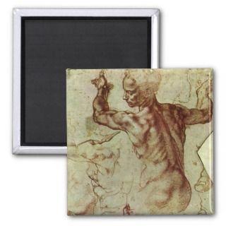 Libyan Sibyl Study by Michelangelo, Renaissance Fridge Magnet